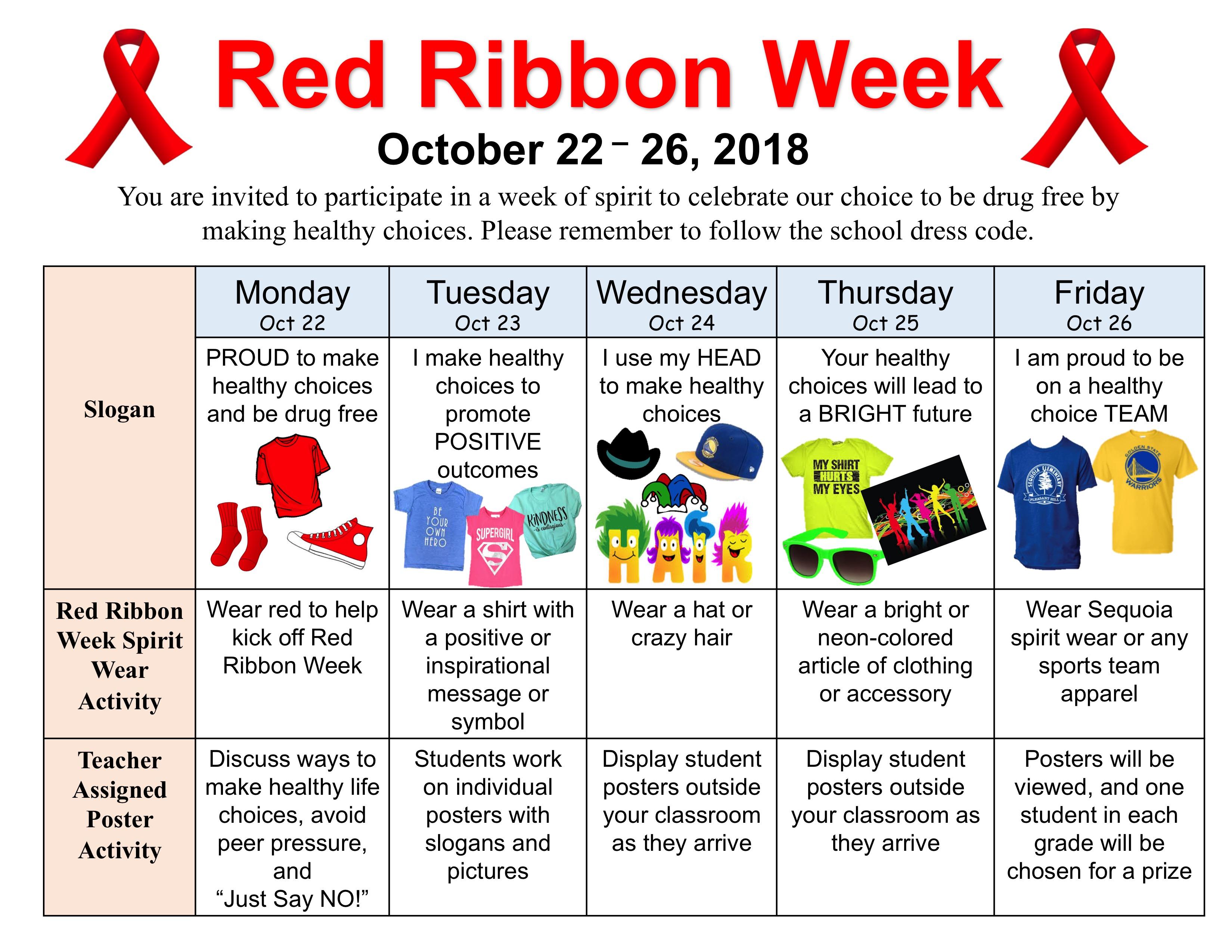Red Ribbon Week Sequoia Parents Association